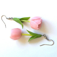 "Earrings ""Tulpis""- Flower jewelry - Rose flowers - Floral fashion"
