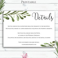 Greenery Wedding Details Card, Personalized Details Card, Wedding Insert Card, Enclosure Card, Customized Printable, Information Card