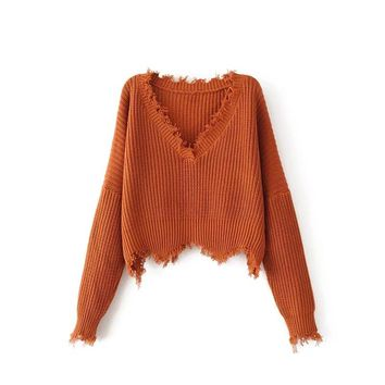 Women's Fashion V-neck Pullover Knit Tops Winter Tassels Sweater [31068454938]