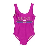 GUCCI Fashion New Women Popular Summer Beach Letter Print Vest Style U Collar One Piece Bikini Swimwear Bathing(7-Color) Rose Red I-ZDY-AK