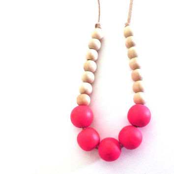 Neon pink necklace, colorblock necklace, wood beaded necklace, suede cord