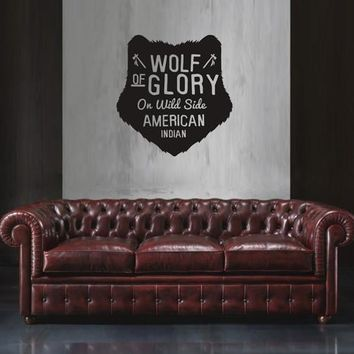 ik1790 Wall Decal Sticker American culture symbol Indian wolf living bedroom