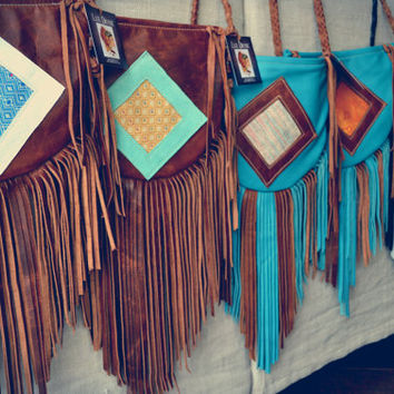 On Sale /// GYPSY TRAVELER Boho Bag /// Turquoise, Coffee Bean and Pastels /// Small Genuine Leather Fringe Tote Tribal Bag