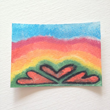ACEO Original Rainbow Watercolor - With All My Heart Series 5
