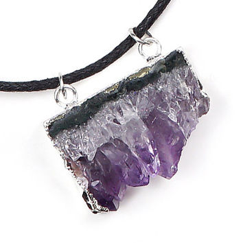 Raw Amethyst Slice Necklace