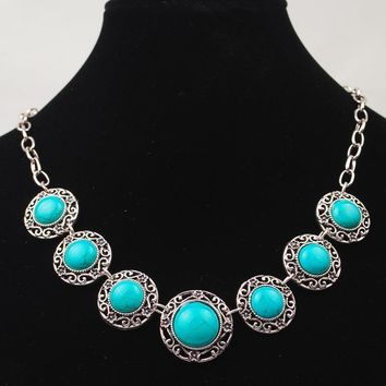 Vintage Chain  Round Green Turquoise Necklaces  Silver Plated Collar Choker