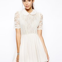 Jones and Jones Poppy Lace Prom Dress with Collar Detail