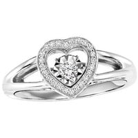 Sterling Silver Heart Shaped Diamond Halo Rhythm of Love Ring