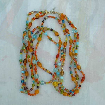 Long Multi Color Triple Strand Art Glass Bead Necklace New India Jewelry
