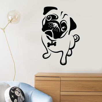 Vinyl Wall Decal Cartoon Pug Dog Pet Shop House Animal Puppy Stickers (2688ig)