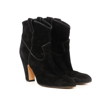 Gianvito Rossi Black Suede Western Boots