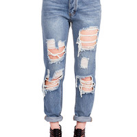 Collapse High Waist Girlfriend Jeans | High Waist Jeans at Pinkice.com
