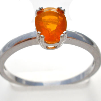 Sterling Silver Mexican Fire Opal Ring TGGC Size 8
