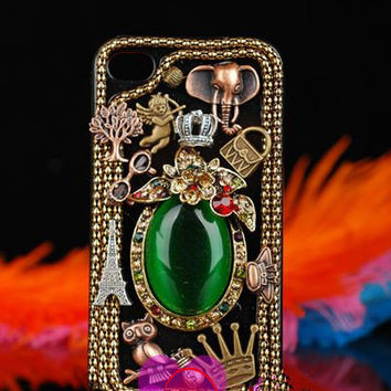 Super Luxury Bling Bling Retro Jewelry Samsung Galaxy s4 Case Retro Rhinestone Swarovski Galaxy s4 Case Green Gem Case A60