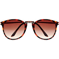 Brown tortoise shell round retro sunglasses - retro sunglasses - sunglasses - men