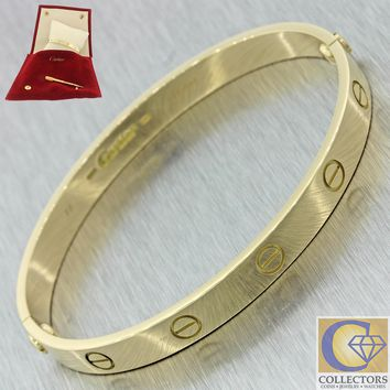 Authentic Cartier 18k Solid Yellow Gold Love Screw Bangle Bracelet 18 w/ Pouch