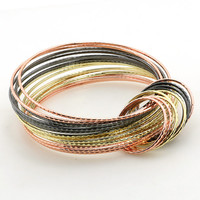 Colorful Boho MultiLayer Stainless Steel Wire Women Cuff Bangle Wide Circle Bracelet  Manchette Statement Jewelry Accessories