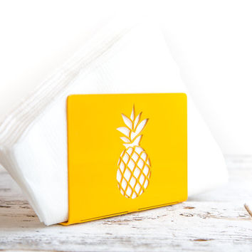 Napkin holder yellow FRUIT laser cut metal napkin dispenser kitchen accessory letter holder