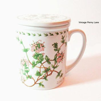 Vintage Ceramic Floral Mug / Tea / Coffee Cup with Lid