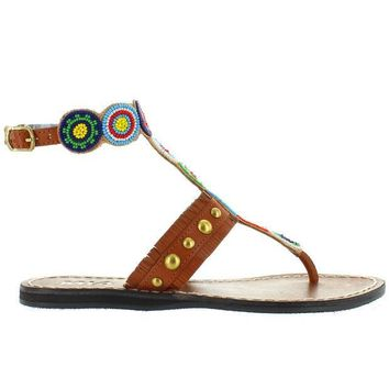 CREYONIG MIA Athena - Bright Multi Beaded/Brown Leather Flat Thong Sandal