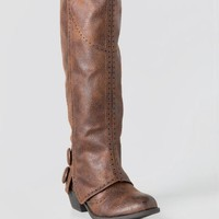 Brass Knee High Cuffed Boot