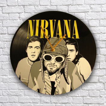 Nirvana painted vinyl record clock, Kurt Cobain, Wall clock