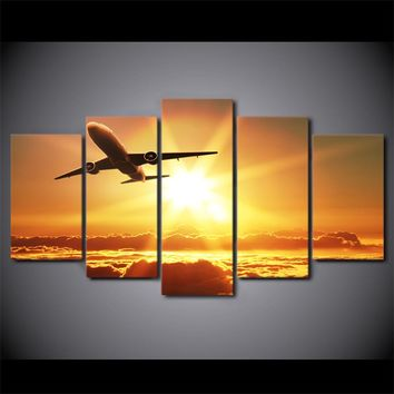 5 panel wall art on canvas Jet  Airplane Sunset Print Picture