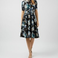 Closet Blue V Back Floral Print Skater Midi Dress