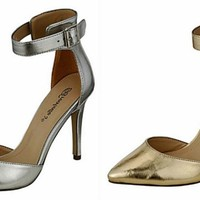 Breckelle's Isabel 01 Pointy Toe Pumps Shoes Heels Metallics Silver or Gold