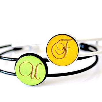Personalized Hand Painted Laser Engrave Wood Monogram Bangle Bracelet - Custom Initial - 23 Colors Available