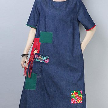 Embroidery Patched Denim Dresses
