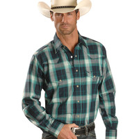 Wrangler Relentless Emerald & Navy Plaid Long Sleeve Western Shirt - Sheplers