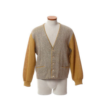 Vintage 50s Neiman Marcus Atomic Fleck Cardigan Sweater 1950s Rockabilly Rat Pack Ricky Hipster Wool Blend Tweed Panel Knit Jacket / Mens M