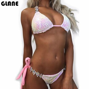 2018 New Ornaments Swimwear Women Sequins Diamond Bikini set Bathing Suit Sexy Push up Stones Straps Swimsuit Monokini