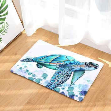 Autumn Fall welcome door mat doormat 2017 Modern Colorful Sea turtle Painting Carpets Anti-Slip Floor Mat Outdoor Rugs Animal Front s Non-slip s AT_76_7