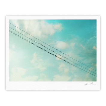 "Sylvia Cook ""Birds on Wires"" Teal Sky Fine Art Gallery Print"