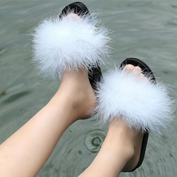Fur Furry Slide Sweet Ostrich Feather Thick Bottom Beach Female Sandals Hair Flip Flop