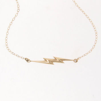 14K Gold Lightning Bolt Necklace - As Seen on Kim Kardashian, and Mila Kunis Celebrity Style, Hip And Cool