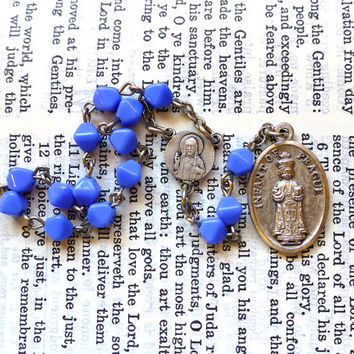 Infant of Prague Chaplet - Catholic Chaplet, Light Blue Czech Glass Beads