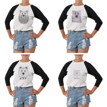 Women Bears in hand draw style Printed Short Sleeves T-shirt WTS_03