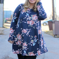 But Wait There's Floral Print Tunic With Pockets ~ Faded Navy ~ Sizes 12-18