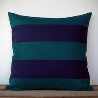 Rugby Striped Pillow Cover in Teal and Navy Natural Linen by JillianReneDecor - Modern Home Decor - Stripes - Gift for Him