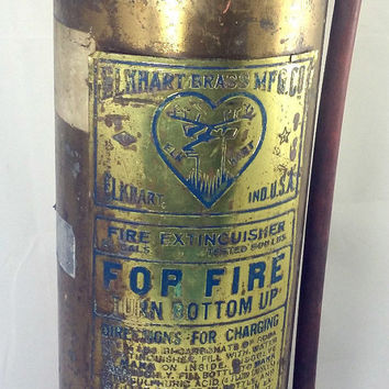 Vintage Empty ELKHART Brass Mfg Co. Fire Extinguisher Vintage Collectible Decor