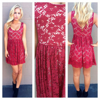 Burgundy Lace Sleeveless Babydoll Dress
