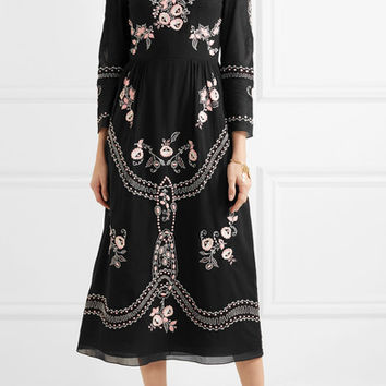Vilshenko - Darcel embroidered cotton-voile midi dress