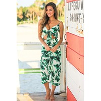 Green Tropical Cut Out Jumpsuit