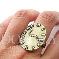 Alice in Wonerland - Time Warped Clock Ring in Bronze