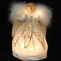 Christmas Tree Topper - Ivory And Gold Lighted Angel