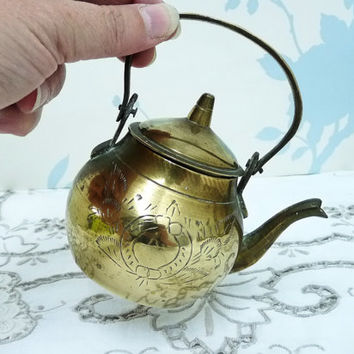 Small Brass Kettle or Tea Pot, Teapot, Hand Etched, Foliage and Wreath Design, Hand Made, Hand Crafted, Artisan