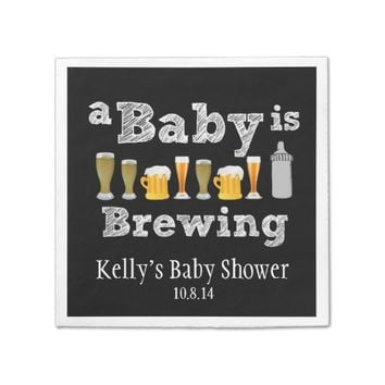 A Baby is Brewing Baby Shower Disposable Napkin